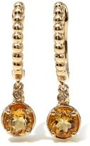 Sevilla Silver with Technibond 0.85ctw Round Citrine Diamond-Accented Drop Earrings