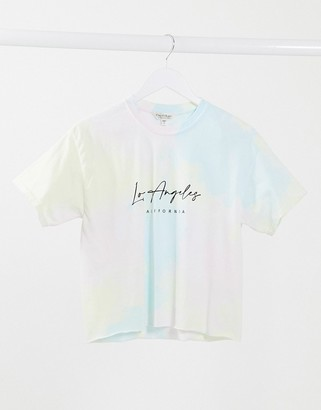 Miss Selfridge slogan t-shirt in tie dye