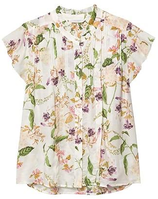 Lucky Brand Flutter Sleeve Poet Blouse (Natural Multi) Women's Clothing