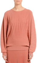 Agnona Dolman-Sleeve Pleated Wool Sweater