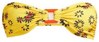 Solid & Striped Tati Floral-print Gathered Bandeau Bikini Top - Womens - Yellow Print