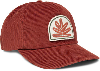 Mollusk Sweet Leaf Appliqued Cotton-Corduroy Baseball Cap