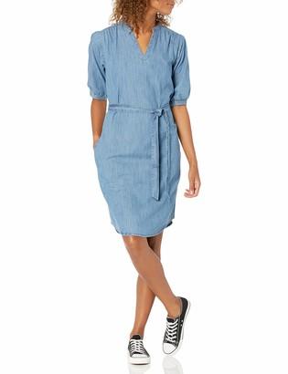 Goodthreads Amazon Brand Women's Denim Puff Sleeve V-Neck Tie Waist Dress