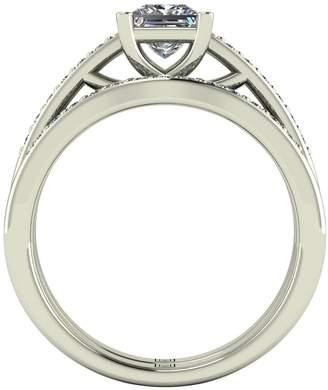 Moissanite Lady Lynsey 9ct Gold 1.10ct total Princess Cut Centre bridal set