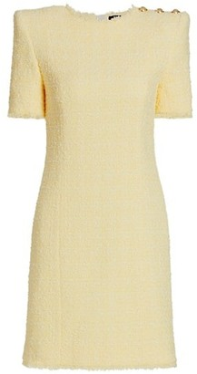 Balmain Structured Shoulder Tweed Dress