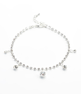 Silvertone & Five Crystal Charm Anklet