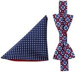 Alara Silk Theodore Elephant Geo Bow Tie & Pocket Square Set