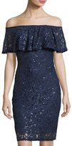 Marina Off-the-Shoulder Short Lace Dress, Navy