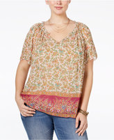 Lucky Brand Trendy Plus Size V-Neck Printed Peasant Top