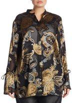 Lafayette 148 New York, Plus Size Desra Paisley Silk Blouse