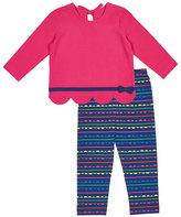 Florence Eiseman Scallop-Hem Bow Shirt w/ Striped Leggings, Size 2-6X