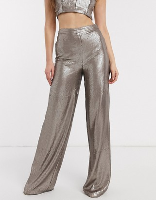 ASOS DESIGN all over sequin wide leg pant co-ord