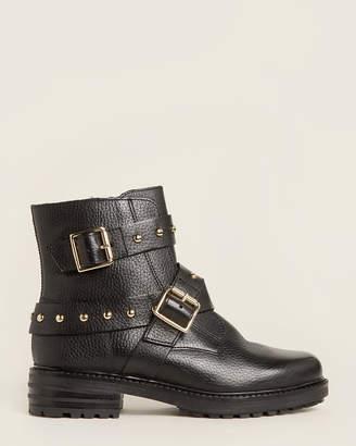 Kurt Geiger Black Stinger Studded Leather Ankle Boots