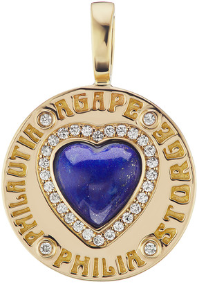 Lapis Coin Heart Charm by Marlo Laz
