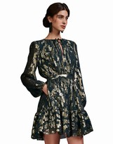 Cynthia Rowley Metallic Floral Ruffle Dress