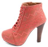 Charlotte Russe Vintage Lace Lace-Up Heel Bootie