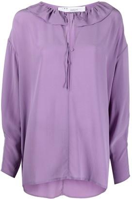 IRO Niklo ruffled keyhole silk blouse