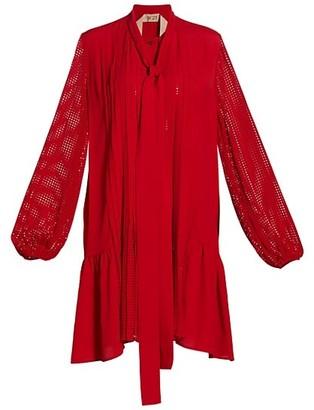 No.21 Mesh Silk-Chiffon Shirtdress