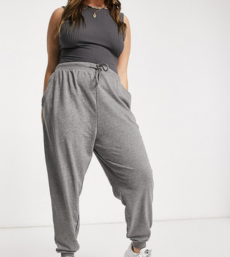 ASOS DESIGN Curve basic jogger with tie in organic cotton in charcoal marl