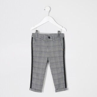 River Island Mini boys Grey check tape side trousers