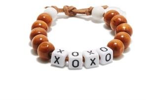 LAUREN RUBINSKI Xoxo Beaded Bracelet - Brown
