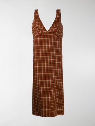 Plan C V-neck check dress