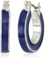 Napier Silver-Tone and Blue Small Hoop Earrings