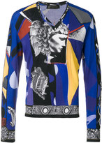 Versace V-neck collage sweater