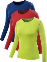 Neleus Women's 3 Pack Athletic Baselayer Compression Long Sleeve Shirt,Blue,Red,Green,Medium