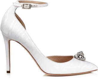 Jimmy Choo LUCY 100 White Moire Fabric Pointy Toe Pumps with Crystal Piece