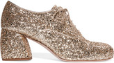 Miu Miu Glittered Leather Brogues - Gold
