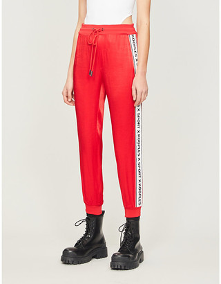 The Kooples Sport Logo-tape relaxed-fit tapered jersey jogging bottoms