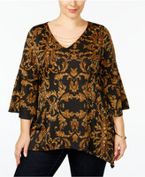 NY Collection Plus Size Printed Handkerchief-Hem Top