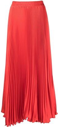 Styland Pleated Satin Maxi Skirt