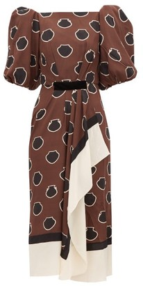 Johanna Ortiz Unexpected Territory Puff-sleeve Silk Dress - Brown