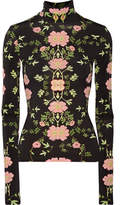 Preen by Thornton Bregazzi Bernadetta Cutout Floral-print Stretch-crepe De Chine Top - Black