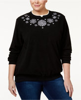 Alfred Dunner Plus Size Snowflake Holiday Sweater