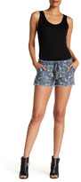 Jolt Frayed Floral Linen Blend Short (Juniors)
