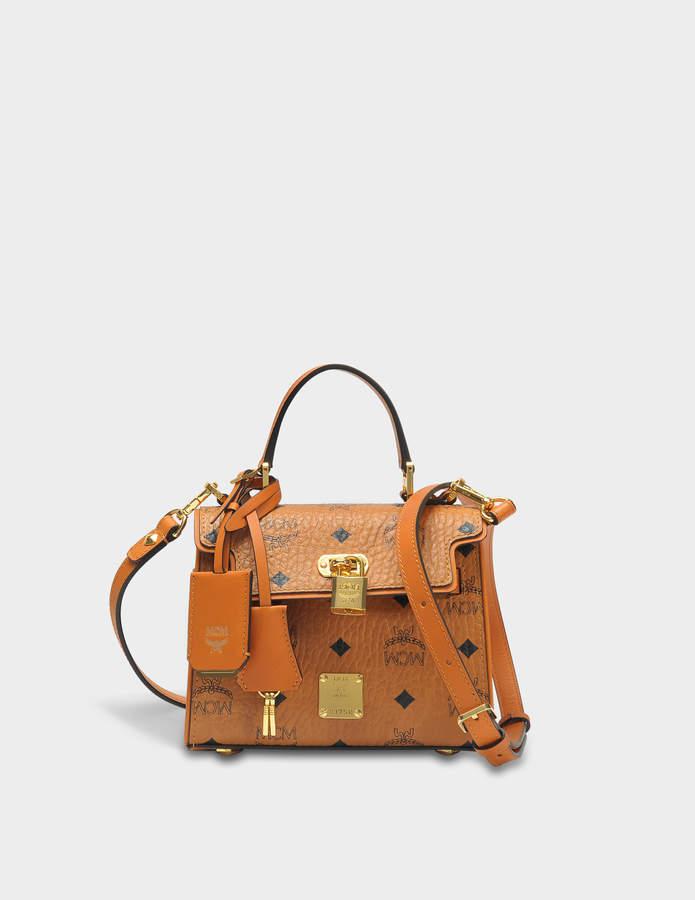 MCM Heritage Satchel Bag in Cognac Visetos