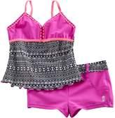 Free Country Girls 7-16 Tankini Apron Top & Shorts Swimsuit Set