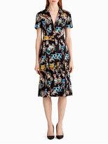 Jason Wu Short-Sleeve Floral-Print Shirtdress, Black Pattern