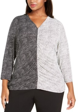 Alfani Plus Size Mixed-Print Ruched-Front Top, Created for Macy's