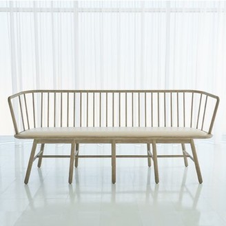 Global Views Spindle Long Faux Leather Bench