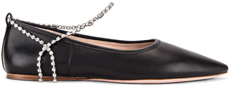 Miu Miu Leather Ankle Jewel Flats in Black | FWRD