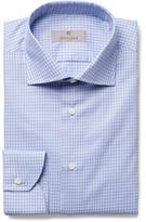 Canali Blue Slim-fit Cutaway-collar Checked Cotton-poplin Shirt - Blue