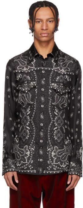 DSQUARED2 Black Silk Western Shirt