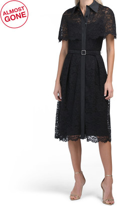 Short Sleeve Belted Lace Shirt Dress