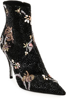 Rene Caovilla Beaded Side-Zip Stiletto Booties