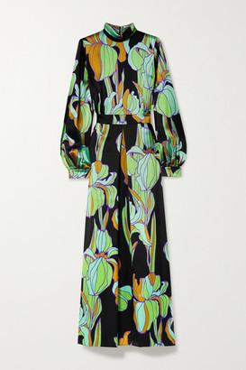 Dries Van Noten Floral-print Silk-satin Maxi Dress - Green