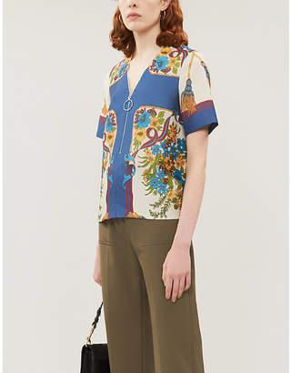 Claudie Pierlot Bindo graphic floral-print satin-twill blouse
